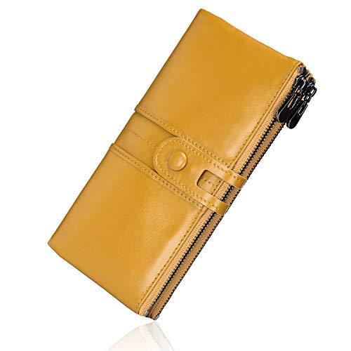 Roulens Vintage Geldbörse Damen Leder Gross, RFID Schutz Damen Portemonnaie Groß Viele Fächer, Geldbeutel Damen Gross mit 13 Kartenfächer mit Handyfach