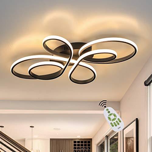 ZMH LED Deckenleuchte Dimmbar mit Fernbedienung in Schwarz LED Deckenlampe Wohnzimmer 65 Watt Kreative Wohnzimmer Lampe aus Metall in Schmetterlingforming, Led Deckenbeleuchtung