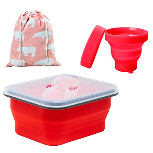 Mess Kit for Camping 1 Person Food Grade Collapsible Bowl and Cup with Lids and Spork, Includes Bear Luch Bag Backpacking Gear for Outdoor Camping, Hiking, Travel, Toddler Snacks, Scouts