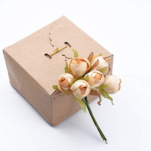 AGBFJY 6 stks Bruiloft decoratieve bloemen kerst decoraties voor thuis bruidsaccessoires thee rozen kunstbloemen
