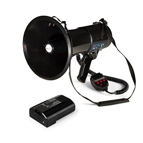 auna Megaphon MEGA080USB - Megafon, Stimmenverstärker, 1.500-mAh-Akku, bis 700 m Reichweite, Sprech-, Sirenen oder Pfeif-Modus, USB- und Rec-Funktion, SD-Slot, MP3-Player, Tragegurt, schwarz