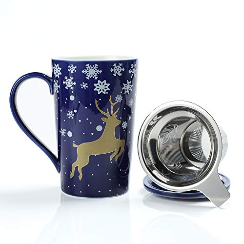 TEANAGOO M58-11 Bone China Tea-Mug with Diffuser and Lid, 18 OZ, Blue Golden Deer, Best for Christmas and New Year Holiday