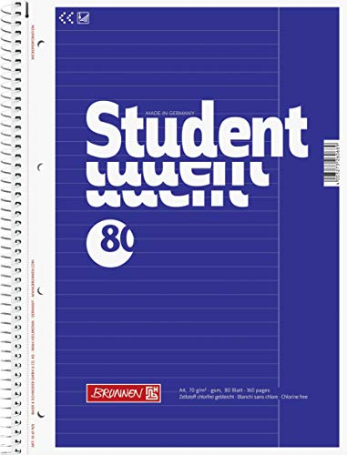 Brunnen 1067925 Notizblock / Collegeblock Student (A4, liniert, Lineatur 25, 70 g/m², 80 Blatt) 5 Stück