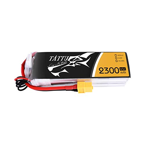 TATTU Batteria LiPo 2300mAh 14.8V 45C 4S per Elicottero Aereo FPV Quadcopter Drone Nero Ricambi RC Auto