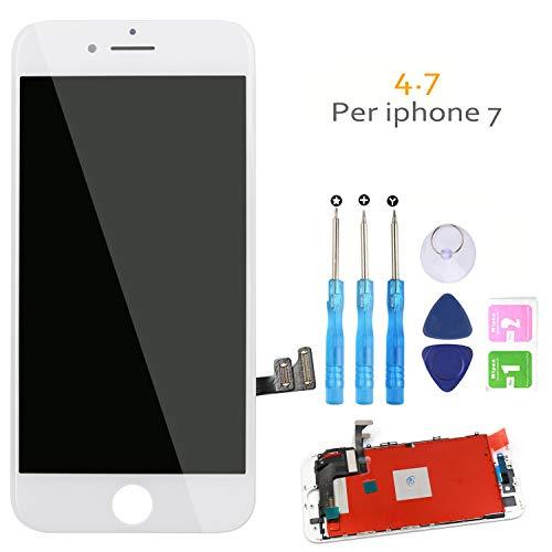 Display LCD Touch Screen per iPhone 7 Bianco (4,7 Pollici) Vetro Schermo Frame Kit Smontaggio trasformazione Completo di Ricambio