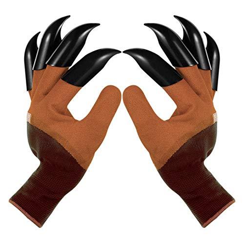 LinHut 1 Paar Gartenhandschuhe mit Fingerspitzen Krallen, atmungsaktiv und wasserdicht, Gardener Working Genie Handschuhe zum Graben, Pflanzen, Beschneiden, Jäten, Säen, Gartenarbeiten