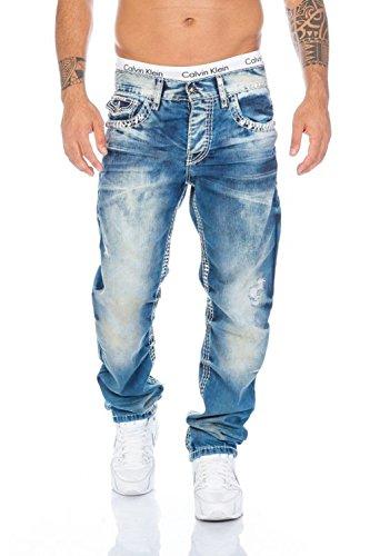 Cipo & Baxx Herren Straight Fit Jeans Ekki blau W 34 L 32
