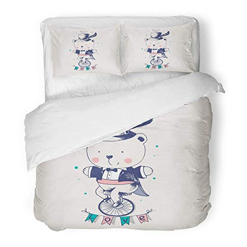 Ensemble de housse de couette 3 pièces en tissu microfibre brossé respirant style vintage bébé ours débarrassant son vélo gentilhomme enfants bébé literie design pour bébé avec 2 couvre-oreillers tail