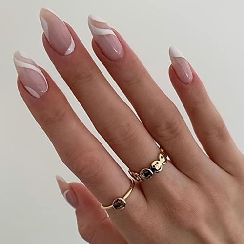 BABALAL Almond Fake Nails, 24Pcs Pink White Press...