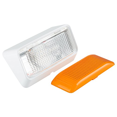 Lumitronics RV 12V LED Outdoor Exterior Porch Light Utility Lighting Fixture - Clear & Amber Lenses Used for Camper Lights (White)