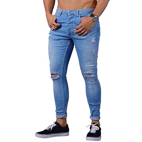 Jean Droit Homme, Manadlian Pantalon a Trou Slim Jeans Garçons Pants de Denim Déchiré Skinny Pantalon de Sport Ete 2019