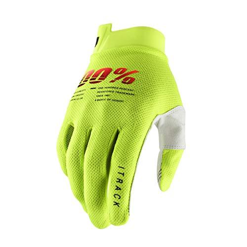 100% iTRACK Handschuhe, Kinder (Neon Gelb, Groß)