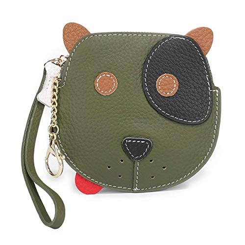 YXFYXF Charming Lovely Design Coin Purse Cow Soft Leather Change Pouch Clutch Purse Compact Wallet with Wristband Coin Purse Bag (Color : Black, Size : 13x1x13cm) (Color : Green, Size : 13x1x13cm)