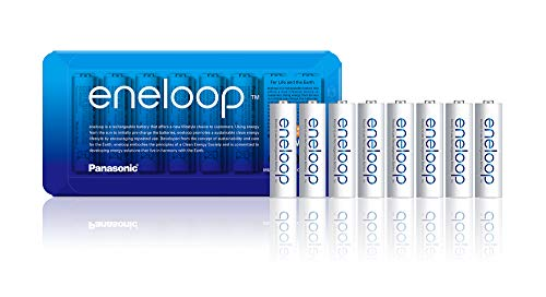 Panasonic eneloop, Ready-to-Use NI-MH Akku, AA Mignon, 8er Pack mit wiederverwendbarer Verpackung, min. 1900 mAh, 2100 Ladezyklen & Amazon Basics AAA-Batterien, wiederaufladbar, vorgeladen, 8 Stück