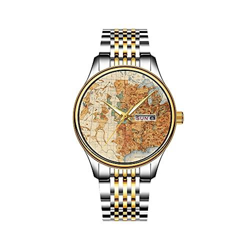 Reloj de pulsera para hombre, mecanismo de cuarzo japonés, fecha, acero inoxidable, pulsera dorada, reloj de pulsera, diseño de muñeco de nieve