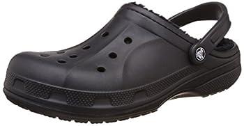 Crocs unisex adult Men s and Women s Ralen Lined | Warm Fuzzy Slippers Clog Black/Black 6 Women 4 Men US