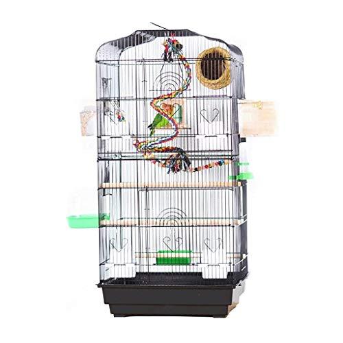 NYKK Jaula para Pájaro Jaula de pájaros de Hierro Forjado doblada de Loro de Metal más Jaula de Pintura de ceja Creativa de Alta Jaula Pajarera (Color : Black-Upgraded Version)