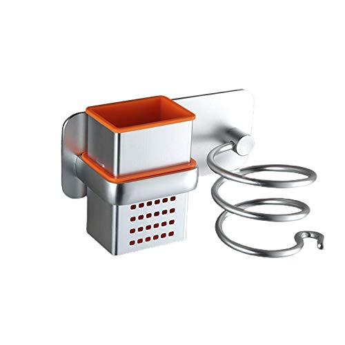 Willand Organizador para secador de pelo en espiral montado en la pared con caja de almacenamiento para baño