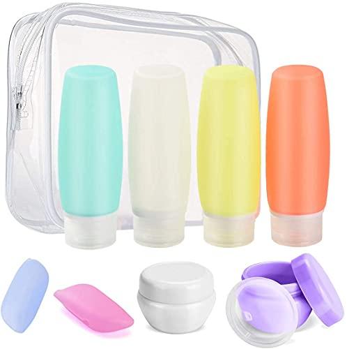 Sepper 8 Stück Silikon ReiseFlaschen Set mit Kulturbeutel, Auslaufsicher Reisebehälter für Duschgel, Lotion, Toilettenartikel, FDA zugelassene nachfüllbare Flüssigkeitsbehälter