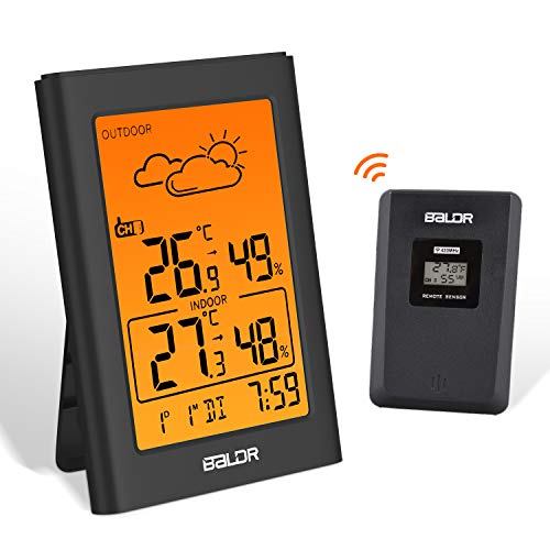 ESOLOM Station météo sans Fil, Thermomètre Hygromètre Intérieure Extérieure Baromètre avec capteur à distance LED Ecran Rétro-éclairage Horloge Numérique Alarme et prévisions météo -Noir