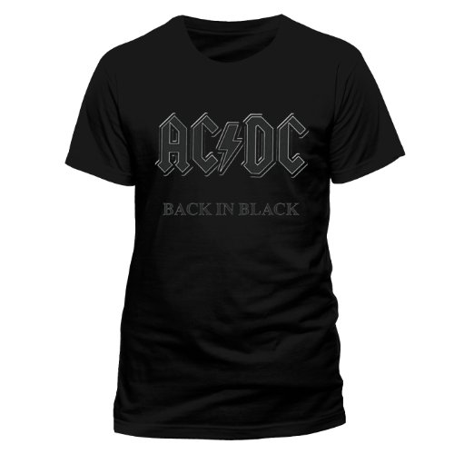 Official Merchandise Band T-Shirt - AC/DC - Back in Black, Schwarz (Black), XL