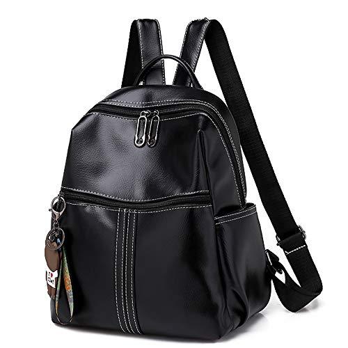 BAGZY Moda Bolso Mochila Antirrobo de Mujer Cuero Bolso Dayback Backpack Bolsa de Mano Señoras de Ligero Impermeable Bolsa de Trabajo Escuela Negro