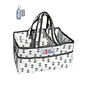 Baby Babylon Washable Diaper Caddy Organizer and Diaper Trash Bag Dispenser | Nursery Storage Bin | Changing Table Organizer | Baby Shower Gift Box Bundle (White)