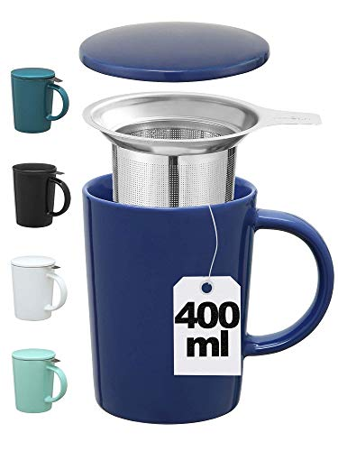 Taza con Filtro para Infusiones y Te - De Ceramica - Azul Oscuro - XL 400ml Grande - Con Tapa y Asa