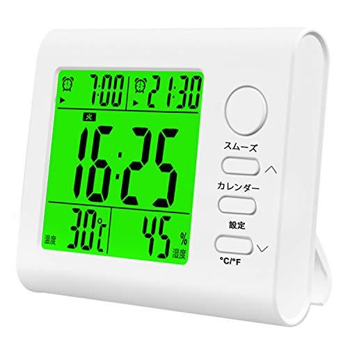 多機能 目覚まし時計 置き時計 非電波 デジタル時計【2021年最新 ダブル アラーム クロック スヌーズ機能 温度 湿度 カレンダー表示 バックライト 電池式 卓上 置時計 白