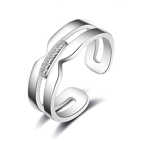 Chandler Nuevos anillos de plata de ley 925 para mujer, minimalismo, líneas geométricas, doble capa, anillo abierto joyería