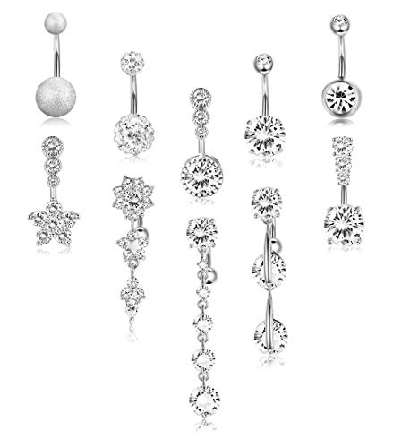 FIBO STEEL 10 Pcs Dangle Belly Button Rings for Women 316L Surgical Steel Clear CZ Barbell Belly Rings Piercing Dangle Reverse Curved Navel Barbell Body Jewelry 14G