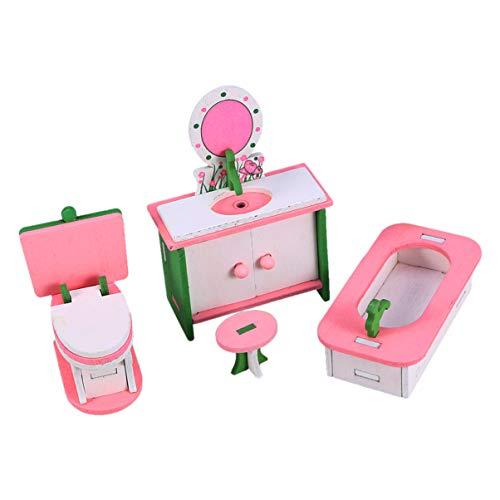 TOYANDONA Nextool - Mueble de madera para casa de muñecas (4 piezas)