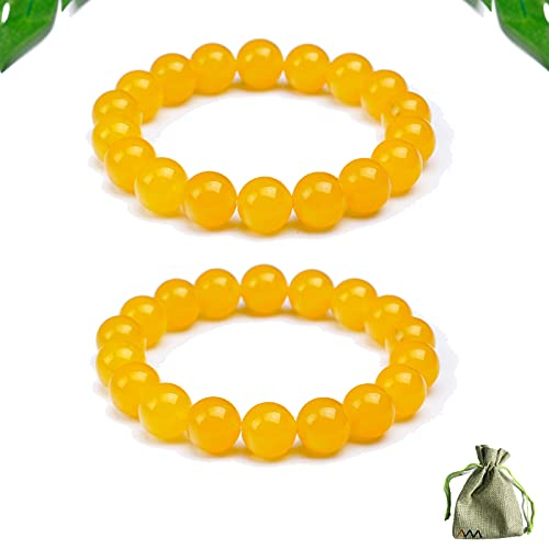 2pcs Natural Yellow Jasper Body Cleansing Bracelet, Jade Chakra Cleansing Wealth Bracelet Bring Good Luck Anti-fatigue Beads for Stress Relief Improve Body Overall Health