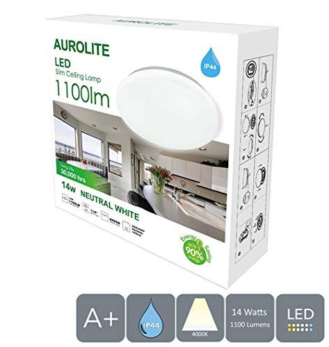 AUROLITE LED Super Slim 14 W IP44 plafondlamp, Ø 26 cm, 4000 K, 1100 lm, waterdicht, verlichting voor badkamer, keuken, hal, kantoor, plafondlamp, badkamer