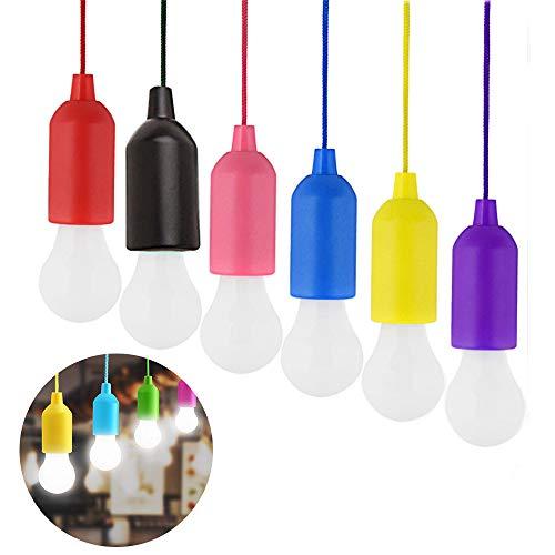 Ritte Tragbare LED Lampe, 6 Stück LED Campinglampe LED Ziehleuchten mit Zugschalter, Batteriebetrieben(AAA), Dekoratives Licht, Bright Camping Licht für Wandern, Angeln, Camping, Zelt, Garten, BBQ