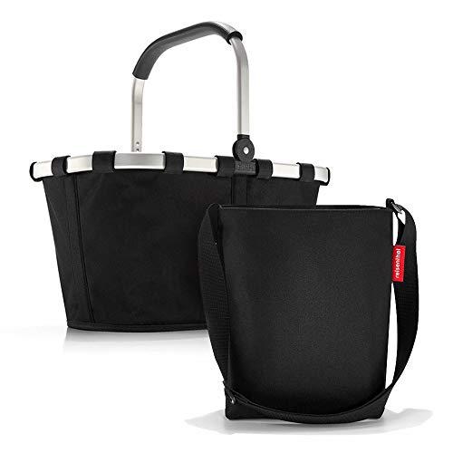 Set aus reisenthel Carrybag BK und reisenthel Shoulderbag HY, Einkaufskorb mit Kleiner Umhängetasche, Black