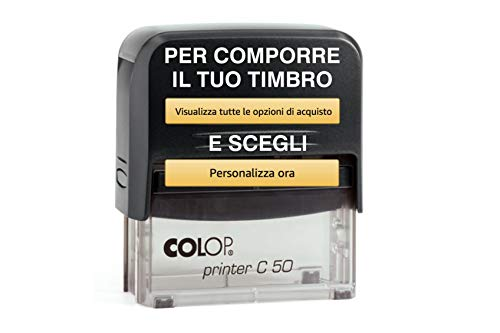 Timbro Autoinchiostrante Personalizzabile Online Pronto all'uso GRANDE SUPERFICIE 7 Righe Colop C 50 Ufficio Casa lavoro