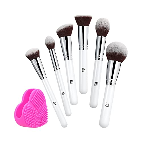 T4B ILU Bake You Happy Set Pennelli Makeup Viso Varie Misure 7 Pezzi, Per Prodotti In Polvere, Trucco Professionale con Pulisci Pennello