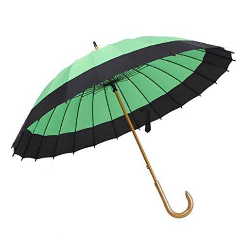 AIWKR Paraplu, handmatige opening, bescherming tegen flits, grote handgreep van hout, J-vorm, winddicht, 24 beenderen, parasol voor dames en heren