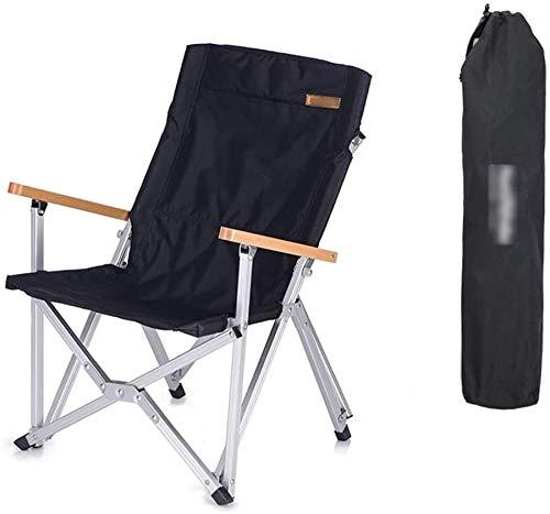 ZHLFDC Folding Camping-Stuhl, Gartenstühle, Leicht Liegestühle, Holz, Armlehne, Metallstühle, geeignet for Outdoor, Tragen, Wandern, Freizeit, 2 Farben (Farbe: Khaki) (Color : Schwarz)