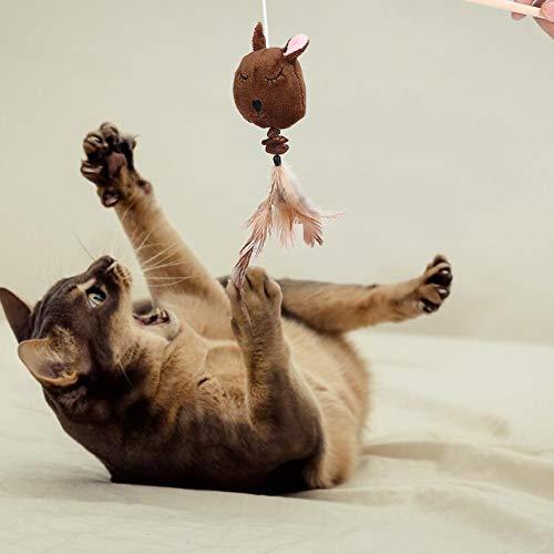Leftwei Interaktives Spielzeug aus Mehreren Plüschfedern aus Holz, interaktives Spielzeug für mehrere Katzen, Spielzeug für Cartoons, Zauberstabspielzeug für Spielzeug für Haustiere