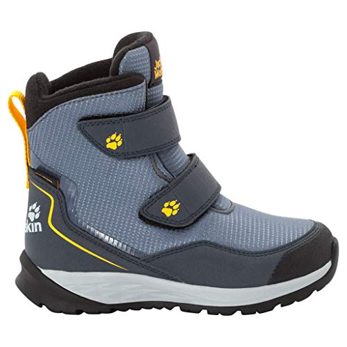Jack Wolfskin Unisex-Kinder Polar Bear Texapore High Vc K Schneestiefel , Grau (Pebble Grey/ Burly Yellow Xt 6510) , 28 EU