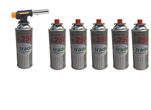 CANNELLO Mini BRUCIATORE Torcia Saldatore Gas Fiamma OSSIDRICA + 6 CARTUCCE A Gas da 250 GR Inclusa