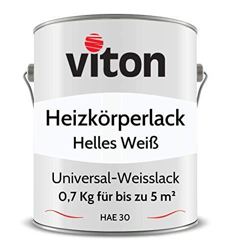 VITON Heizkörperlack - 0,7 Kg - Seidenmatt Weiss - UV- & Hitze-beständig - Heizkörperfarbe, Heizungsfarbe, Heizungslack - HAE 30 - RAL 9016 Verkehrsweiss (Helles Weiss)