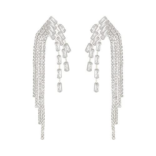 YANXIA Pendientes Colgantes Geométricos para Mujer Pendientes con Borlas Grandes para Boda Pendientes Largos y Elegantes Decorativos Plateados
