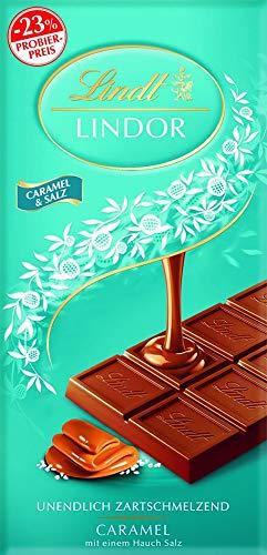 Lindt LINDOR Tafel, Caramel & Salz, Promotion, Vollmilch Schokolade Caramel mit einem Hauch Salz, 1er Pack (1 x 100 g)
