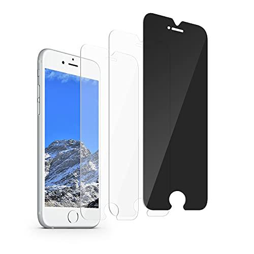 Pellicola salvaschermo per iPhone 8 Plus/iPhone 7 Plus / 6 Plus/ 6s Plus(5.5 pollici) Vetro temperato, anti-bolle anti-impronta antigraffio Durezza 9H, pellicola protettiva anti-spia