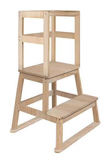 BOMI® Vario Lernturm Kinder Schemel Swubi aus Holz I Lerntower für Kinder ab dem Stehalter   Tower Küche Kindermöbel Learning Tower I Mehr Sicherheit bei Kindererziehung