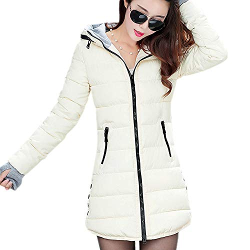 BOZEVON Cappotto da Donna Invernale - Parka Giubbino Lungo Elegante Piumino Giacca Imbottito con Cappuccio Taglie Forti, Bianco/EU L = Tag 2XL