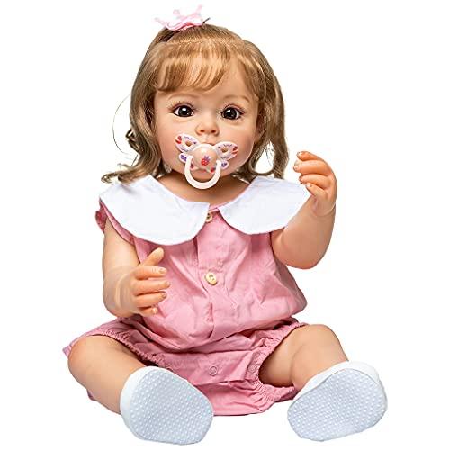 BBR 55 cm/21 pol. Boneca bebê menina boneca nutritiva realista feita à mão corpo macio com cabelo loiro enraizado presente popular